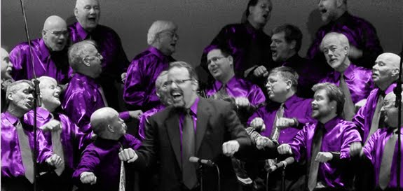 Chorus in purple shirts